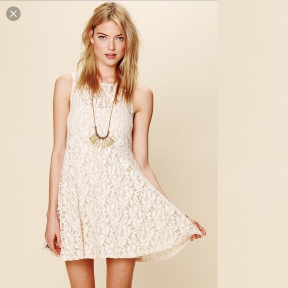 NWOT Free People Miles Of Lace Ivory Dress L